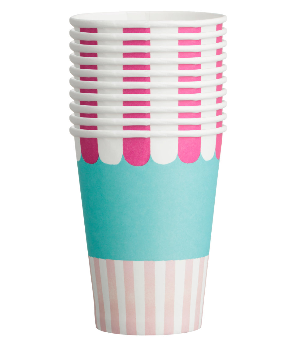 H&M - 10-pack Paper Cups - Turquoise/pink