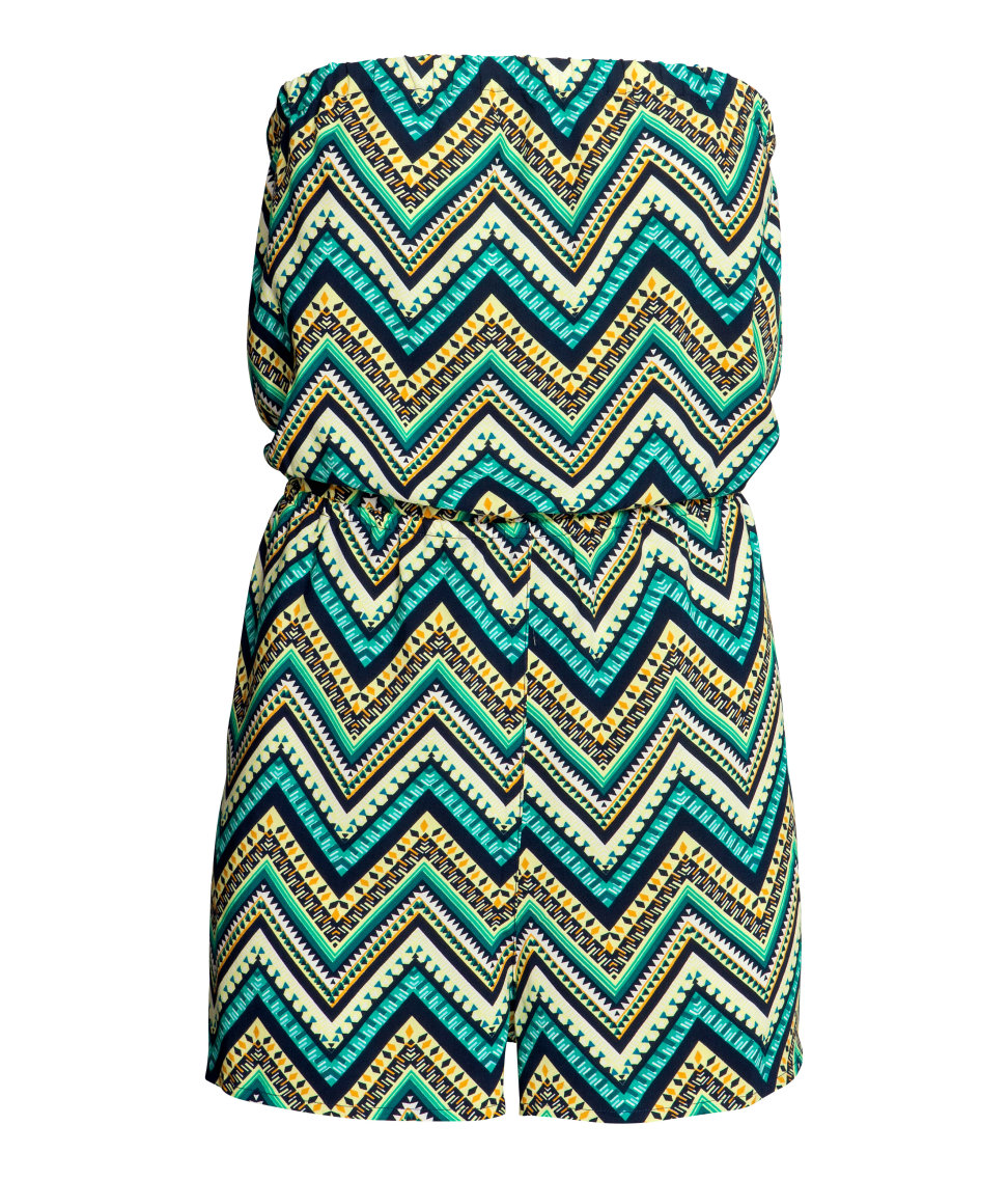 H&M - Strapless Jumpsuit - Turquoise/zig-zag - Ladies