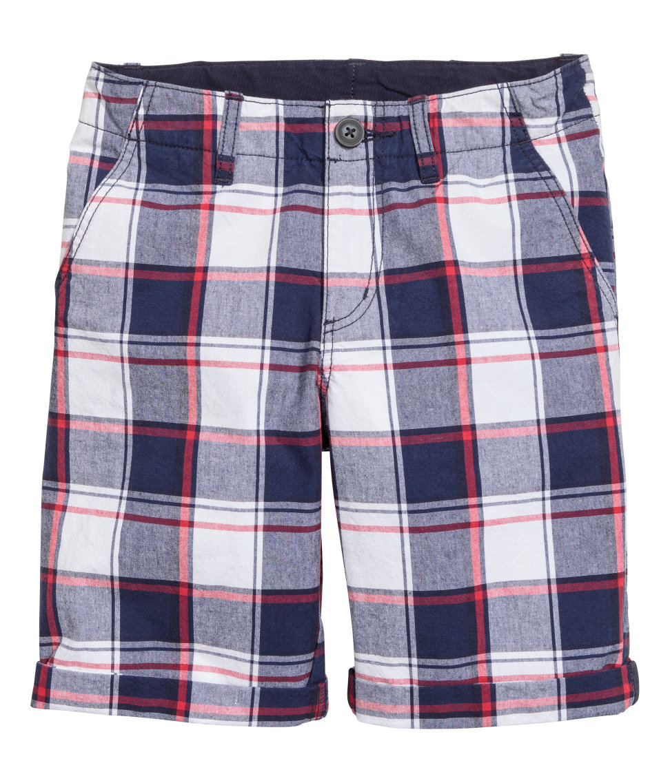 H&M - Chino Shorts - Dark blue/checked - Kids