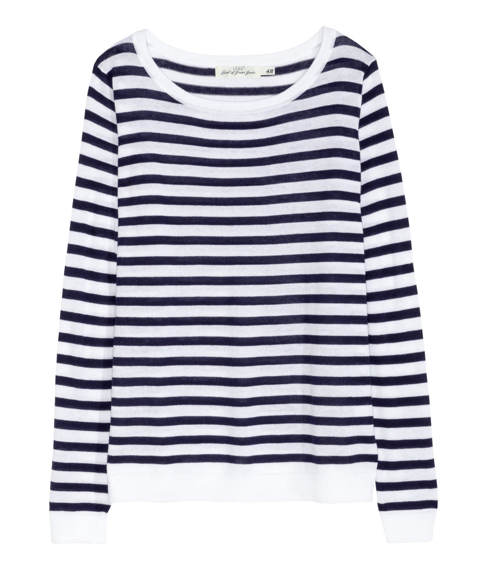 H&M - Linen-blend Sweater - White/striped - Ladies