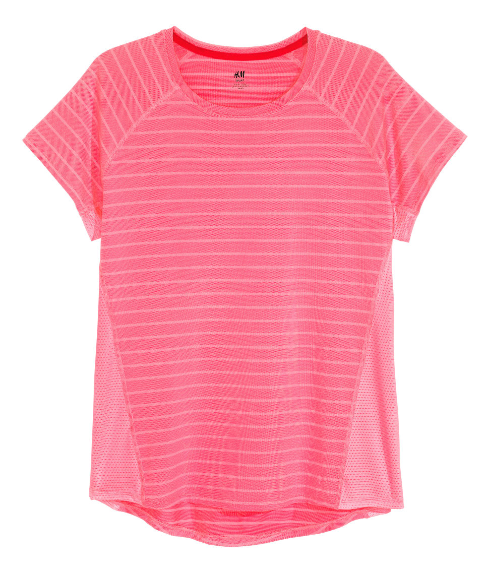 H&M - H&M+ Short-sleeved Sports Top - Neon pink - Ladies
