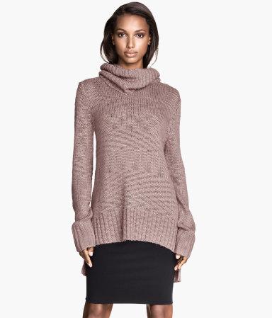 Knit Cowl-neck Sweater Powder pink Ladies H&M US