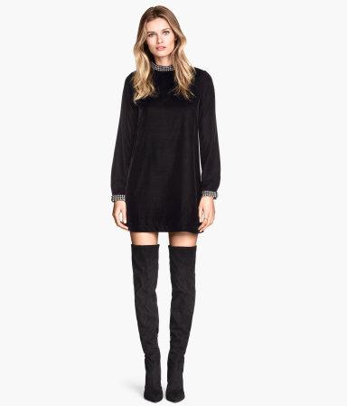 velvet dress black sale h m us. Black Bedroom Furniture Sets. Home Design Ideas