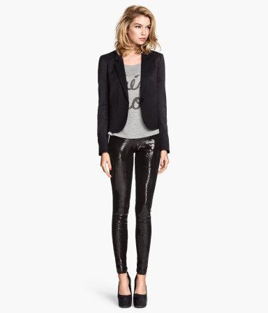 sequined leggings black sale h m us. Black Bedroom Furniture Sets. Home Design Ideas