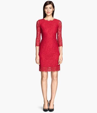 lace dress red sale h m us. Black Bedroom Furniture Sets. Home Design Ideas