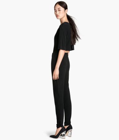 short sleeved jumpsuit black ladies h m us. Black Bedroom Furniture Sets. Home Design Ideas