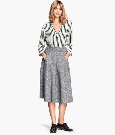 knee length skirt gray sale h m us. Black Bedroom Furniture Sets. Home Design Ideas