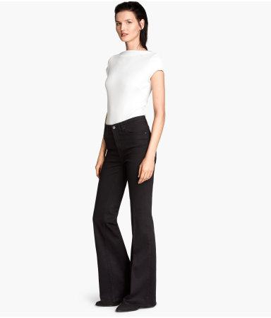flared jeans black sale h m us. Black Bedroom Furniture Sets. Home Design Ideas