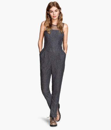 lace jumpsuit gray sale h m us. Black Bedroom Furniture Sets. Home Design Ideas