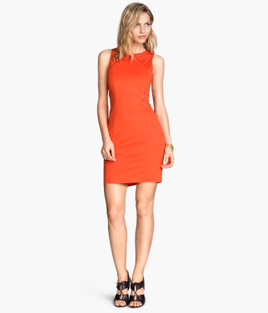 dress with perforated pattern orange sale h m us. Black Bedroom Furniture Sets. Home Design Ideas