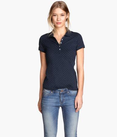 Polo shirt dark blue dotted women h m us for H m polo shirt womens