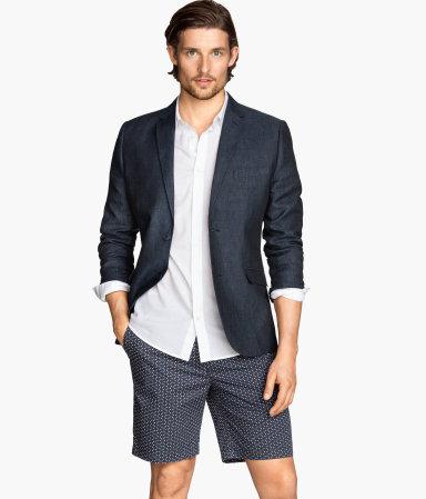 linen blazer dark blue men h m us. Black Bedroom Furniture Sets. Home Design Ideas