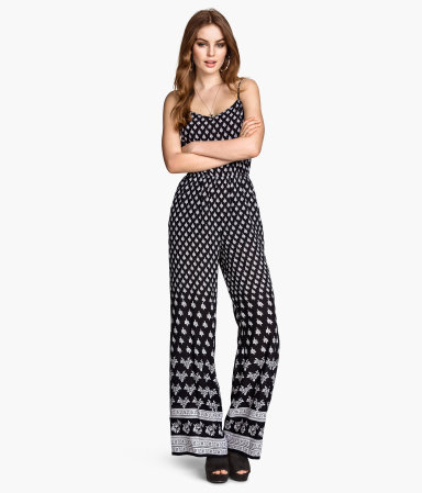 patterned jumpsuit black patterned women h m us. Black Bedroom Furniture Sets. Home Design Ideas