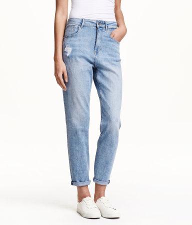 mom jeans light denim blue women h m us