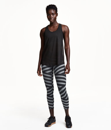 sports leggings black striped women h m us. Black Bedroom Furniture Sets. Home Design Ideas