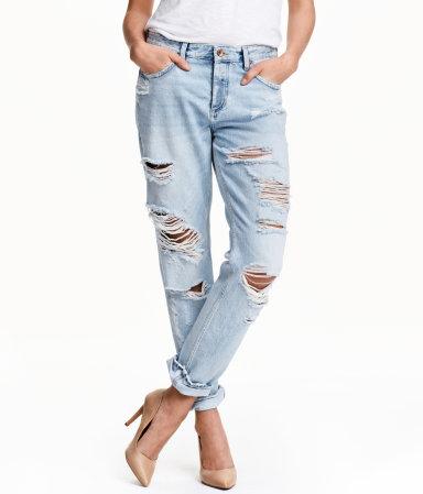 boyfriend low ripped jeans light denim blue ladies h. Black Bedroom Furniture Sets. Home Design Ideas