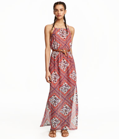 H&M Patterned Chiffon Maxi Dress $24.99