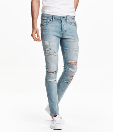 Skinny low trashed jeans light denim blue men h m us - Hm herren jeans ...