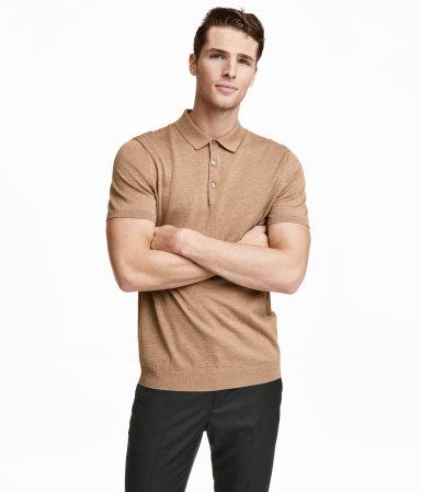 Silk blend polo shirt dark beige melange men h m us for H m polo shirt mens