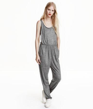 sleeveless jumpsuit dark gray melange ladies h m us. Black Bedroom Furniture Sets. Home Design Ideas