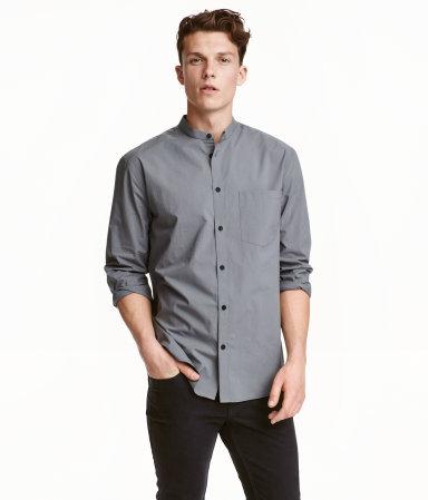Collarless shirt gray men h m us for Collarless shirts for men