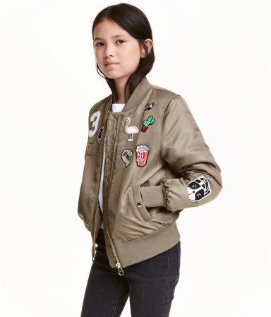 bomber jacket with appliqu s khaki green kids h m us. Black Bedroom Furniture Sets. Home Design Ideas