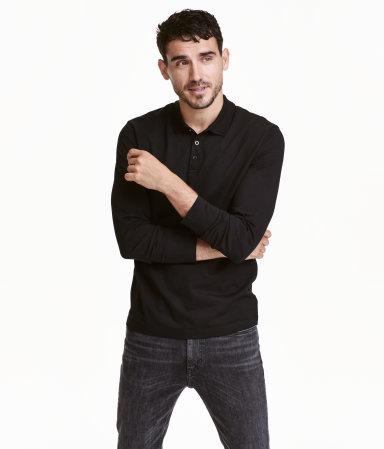 Long sleeved polo shirt black men h m us for H m polo shirt mens
