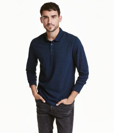 Long sleeved polo shirt dark blue melange men h m us for H m polo shirt mens