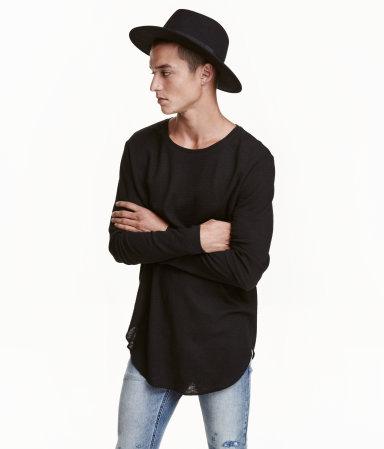 Long sleeved t shirt black men h m us for H m mens henley t shirt long sleeve