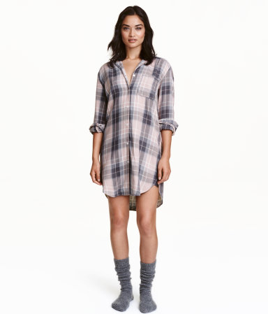 Flannel nightshirt powder pink checked women h m us for Womens flannel night shirts