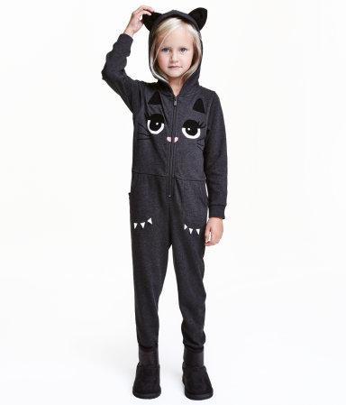 jumpsuit with printed design dark gray cat sale h m us. Black Bedroom Furniture Sets. Home Design Ideas