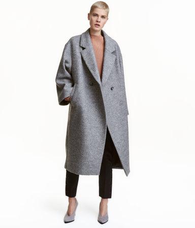 oversized wool coat gray melange women h m us. Black Bedroom Furniture Sets. Home Design Ideas