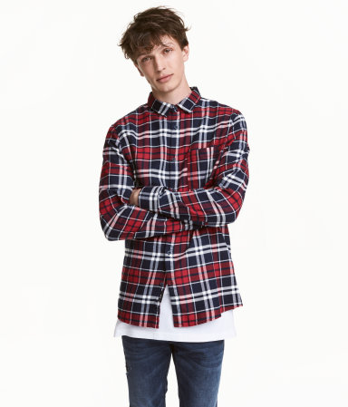 Flannel shirt red white men h m us for Red black and white flannel shirt