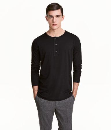cotton jersey henley shirt black men h m us. Black Bedroom Furniture Sets. Home Design Ideas