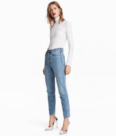 vintage high jeans light denim blue studs women h m us. Black Bedroom Furniture Sets. Home Design Ideas