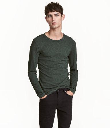 Long sleeved stretch t shirt dark green melange men for H m mens henley t shirt long sleeve
