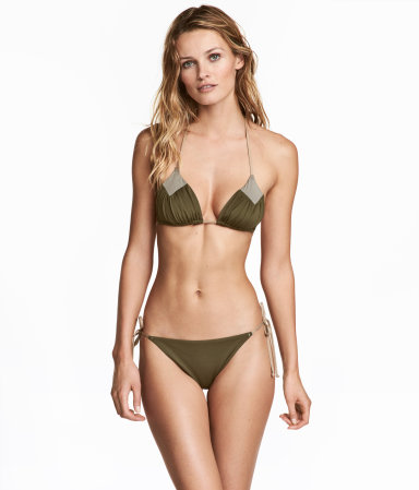 bikini bottoms khaki green women h m us. Black Bedroom Furniture Sets. Home Design Ideas