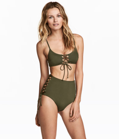 bikini bottoms high waist khaki green sale h m us. Black Bedroom Furniture Sets. Home Design Ideas