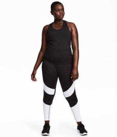 h m sports tights black white sale h m us. Black Bedroom Furniture Sets. Home Design Ideas