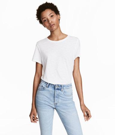 cotton t shirt white women h m us. Black Bedroom Furniture Sets. Home Design Ideas