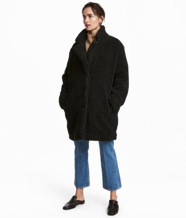short pile coat black sale h m us. Black Bedroom Furniture Sets. Home Design Ideas