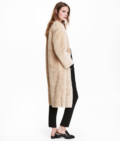 faux fur coat beige women h m us. Black Bedroom Furniture Sets. Home Design Ideas