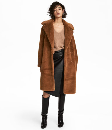 faux fur coat brown women h m us. Black Bedroom Furniture Sets. Home Design Ideas