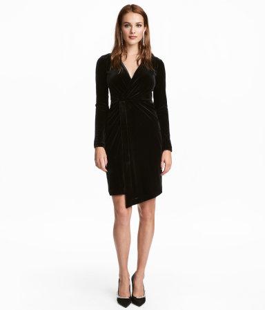 velour dress black sale h m us. Black Bedroom Furniture Sets. Home Design Ideas