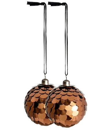 2 pack christmas ornaments copper colored sale h m us for H m christmas decorations