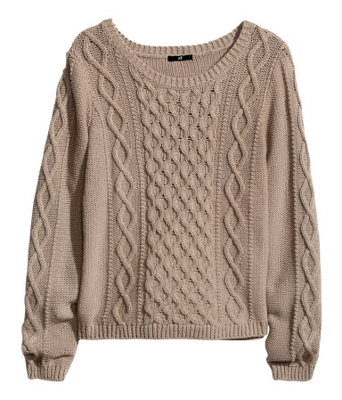 Knitting Pattern Ladies Cable Jumper : Cable-knit Sweater Taupe Sale H&M US