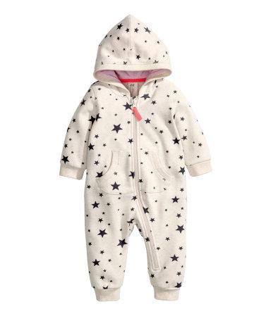 H And M Bebek Tulum Patterned Snuggle Suit | Light beige/stars | Kids | H&M US