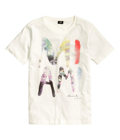 t shirt with printed design white miami sale h m us. Black Bedroom Furniture Sets. Home Design Ideas