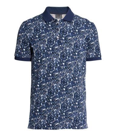 Polo shirt dark blue patterned men h m us for H m polo shirt mens