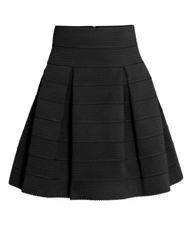 textured skirt black sale h m us. Black Bedroom Furniture Sets. Home Design Ideas